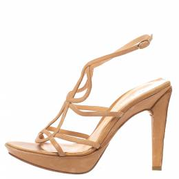 Sergio Rossi Brown Leather Strappy Platform Sandals Size 39.5 324988