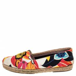 Christian Louboutin Multicolor Canvas Gala Embroidered Crest Flat Espadrille Loafers Size 40 325256