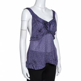 Roberto Cavalli Purple Floral Print Silk Sheer Camisole Top M 325290