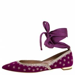Aquazzura Purple Suede Leather Bliss Embroidered Ankle Wrap Ballet Flats Size 37 322776