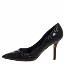 Dior Black Quilted Cannage Leather Pointed Toe Pumps 37.5 325229