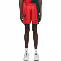 McQ Alexander McQueen Red and Green Decon Football Shorts 602581RPT78