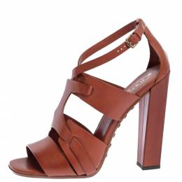 Tod's Brown Leather Ankle Strap Block Heel Sandals Size 40 326373