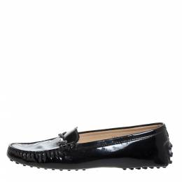 Tod's Black Patent Leather Double T Loafers Size 38.5 325457