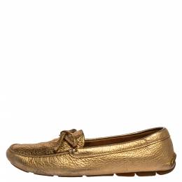 Prada Metallic Gold Leather Bow Slip On Loafers Size 39 325903