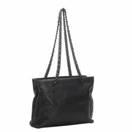 Prada Black Chain Leather Tote Bag 323557