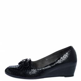 Stuart Weitzman Black Python Embossed Leather Wedge Bow Detail Loafer Pumps Size 38 325817