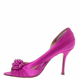 Le Silla Fuchsia Pink Ruched Satin Embellished D'Orsay Peep Toe Pumps Size 38 325325