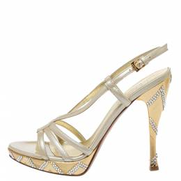 Loriblu Cream Patent Leather Crystal Embellished Ankle Strap Sandals Size 38 325864