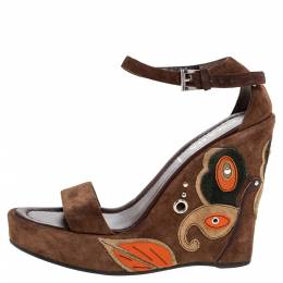 Prada Brown Suede Leather Wedge Platform Ankle Strap Sandals Size 37 326501