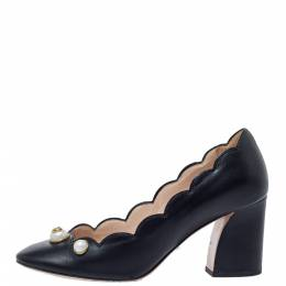 Gucci Black Scalloped Leather Willow Pearl Embellished Block Heel Pumps Size 37 326087