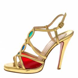 Christian Louboutin Metallic Gold Leather Strappy Sandals Size 37 326457