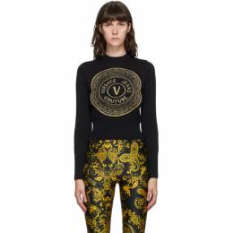 Versace Jeans Couture Black and Gold New Buttons Sweater EB4HZA810 E50463