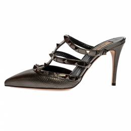 Valentino Metallic Grey Leather Rockstud Strappy Pointed Toe Mules Size 37 326564