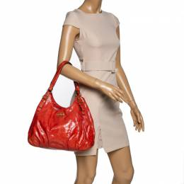 Coach Orange Patent Leather Maggie Shoulder Bag 325074