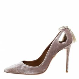 Aquazzura Grey Velvet Forever Marilyn 85 Cut Out Tassel Detail Pointed Toe Pumps Size 38 325752