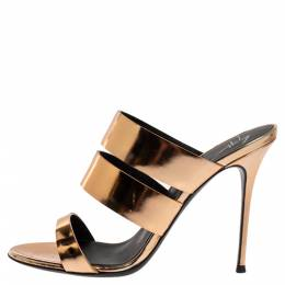 Giuseppe Zanotti Metallic Gold Leather Strappy Slide Sandals Size 38 326270