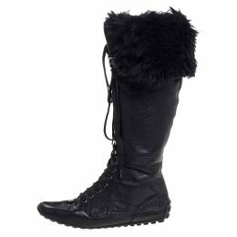 Louis Vuitton Black Leather And Fur Trim Mid Calf Lace Up Boots Size 41 324791