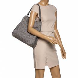 Coach Grey Signature Canvas and Leather Edie Shoulder Bag 326036