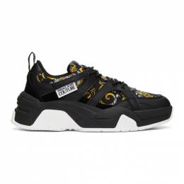 Versace Jeans Couture Black and Gold Barocco Sneakers EE0YZASF2 E71599