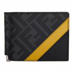 Fendi Black and Yellow Forever Fendi Bill Clip Wallet 7M0281 A9XS