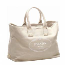 Prada White Canvas Canapa Tote Bag 323835