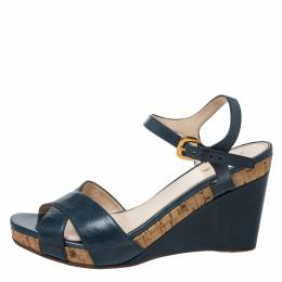 Prada Blue Criss Cross Leather Ankle Strap Wedge Sandals Size 41 326765