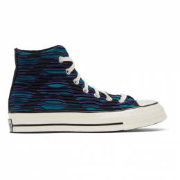 Converse Blue and Purple Wavy Knit Chuck 70 High Sneakers 168757C