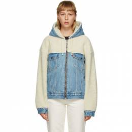 Levi's Off-White and Blue Sherpa Hooded Hybrid Trucker Jacket 28875-0002