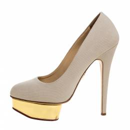 Charlotte Olympia Beige Canvas Dolly Platform Pumps Size 39 326590