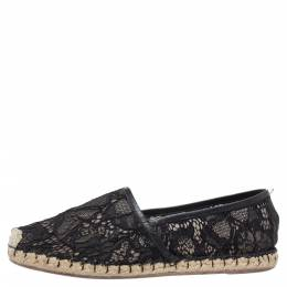Valentino Black Lace and Leather Espadrilles Size 38 327093