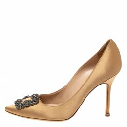 Manolo Blahnik Metallic Gold Satin Hangisi Crystal Embellished Pumps Size 40.5 327812