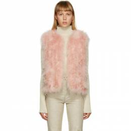 Yves Salomon Pink Feather Cropped Vest 21W9WAA10455PLUX