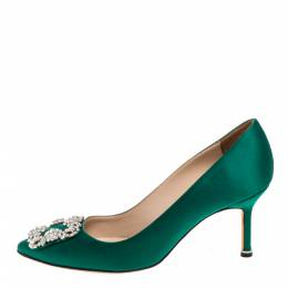 Manolo Blahnik Green Satin Hangisi Crystal Embellished Pumps Size 37 328325