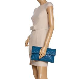 Marc by Marc Jacobs Blue Quilted Leather Large Eugenie Clutch 326173