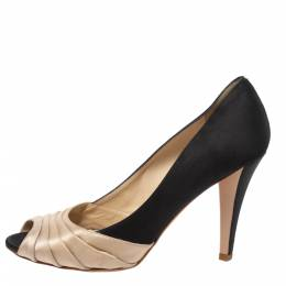 Oscar de la Renta Black/Beige Satin Ruched Detail Peep Toe Pumps Size 37 326187