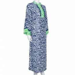 Oscar de la Renta Blue & Green Animal Print Maxi Kaftan Dress XL 328104