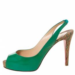 Christian Louboutin Green Patent Leather Private Number Peep Toe Slingback Sandals Size 38 328117