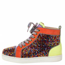 Christian Louboutin Multicolor Crystal Embellished Suede And Patent Leather Louis High Top Sneakers Size 41 328098