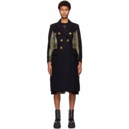 Sacai Navy Wool and Nylon Coat 20-05208