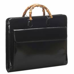 Gucci Black Patent Leather Bamboo Briefcase Bag 324052