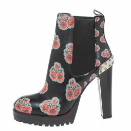 Alexander McQueen Black Leather Poppy Flower Print Ankle Boots Size 38 329452
