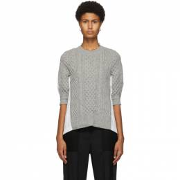 Sacai Grey and White Cable Knit Pleated Back Sweater SCW-040