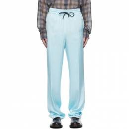 Dries Van Noten Blue Viscose Drawstring Trousers 20905-1152-514