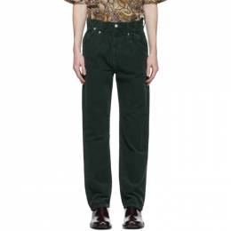 Dries Van Noten Green Corduroy Elasticized Waist Trousers 22402-1239-605