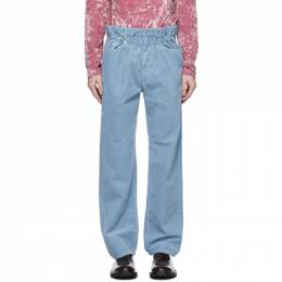 Dries Van Noten Blue Corduroy Elasticized Waist Trousers 22402-1239-514