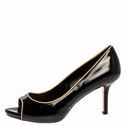 Miu Miu Black/Yellow Patent Leather Open Toe Pumps Size 39 329629