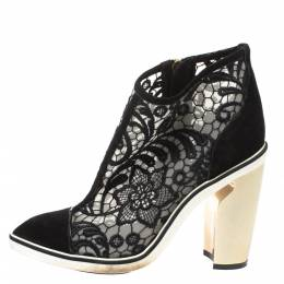 Nicholas Kirkwood Black Suede and Embroidered Mesh Block Heel Ankle Boots Size 36.5 326179