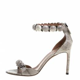 Alaia Multicolor Python Chamois Bombe Ankle Cuff Sandals Size 39 329840