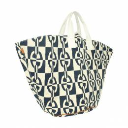 Hermes Blue/White Optique Chaine d'Ancre Large Beach Tote Bag 320692
